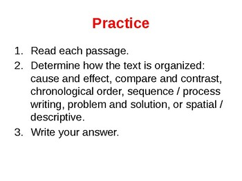 Organizing Text Structures Powerpoint, Quiz and Answer Key
