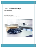 Organizing Text Structures Quiz with Answer Key