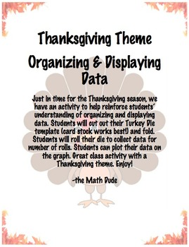 Organizing and Displaying Data Thanksgiving Theme