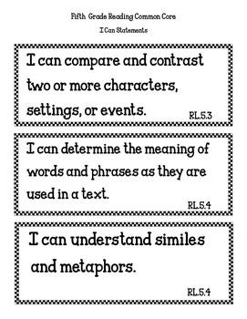 COMMON CORE ORGANIZER {5th Grade READING }
