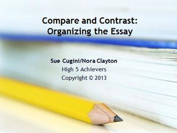 compare and contrast essays teaching resources teachers pay teachers organizing the compare and contrast essay organizing the compare and contrast essay