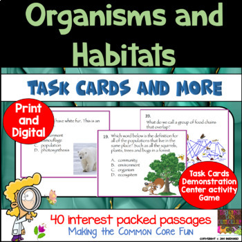 Organisms and Habitats Science Task Cards and More