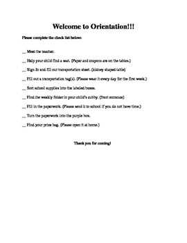 Orientation Check List
