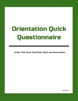 Orientation Quick Activity (All Subjects)