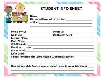 Orientation and Meet the Teacher Night Documents Student Info, Email, Galore!