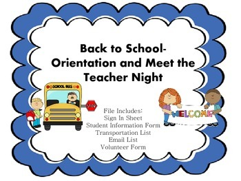 Orientation and Meet the Teacher Night Documents Student I
