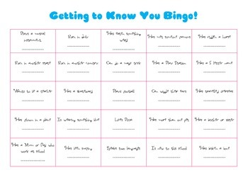Orientation day Bingo - getting to know your classmates