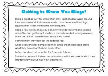 Orientation day Bingo - getting to know your classmates