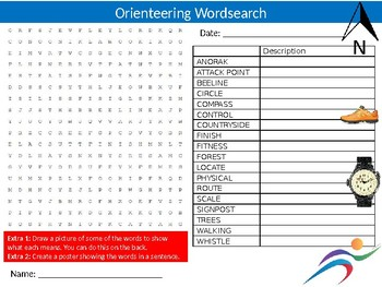 Orienteering Wordsearch Puzzle Sheet Keywords Sport Physical Education