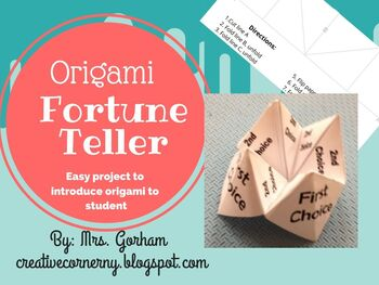 Origami Fortune Teller (Cootie Catcher) Editable & Printable Version