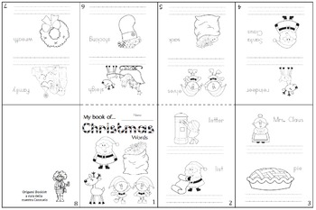 Origami booklet of Christmas words