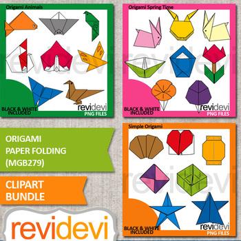 Origami paper folding clip art bundle