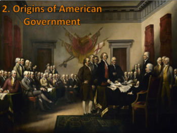 Origin of American Government Presentation w/ 3 days of Guided Notes