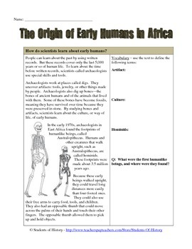 Origin of Early Humans Reading & Worksheet