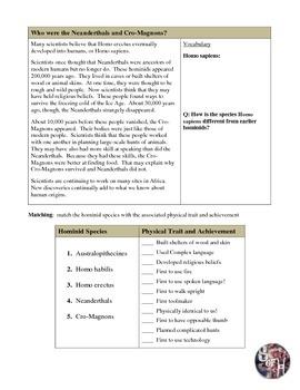 Origin of Early Humans Reading & Worksheet