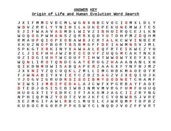 Evolution (Origin of Life & Human) Crossword, Definitions, Matching, T & F