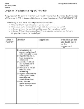 Origin of Life Research Paper Instructions, Rubric, and Peer Edit Sheet