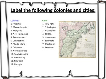 Original 13 Colonies Map Activity