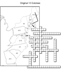 Original 13 colonies Crossword, word search and matching