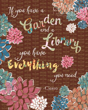 Original Art Library and Garden Quote
