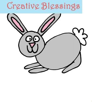 Hand Drawn Clip art Bunny  Graphics