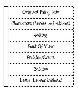 Original Fairy Tale Planning chart for interactive notebooks