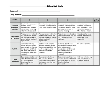 Original Lab Rubric