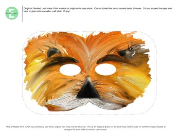 photograph about Lion Mask Printable referred to as One particular of a variety Lion Mask Printable