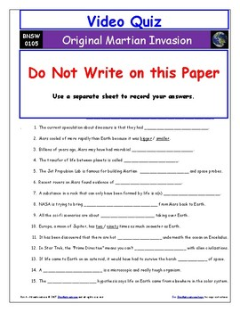"Differentiated Video Guide, Quiz & Ans. for ""Original Martian Invasion *"""