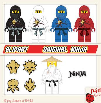 Original Ninjas with Sensei Wu - Set of 10 Clipart - PNG files