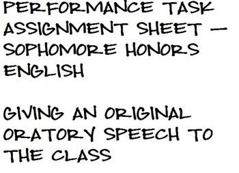 Original Oratory Speech Assignment