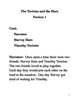 Original Play Script for the Tortoise and the Hare
