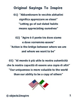 Original Sayings To Inspire: motivational sayings in Italian and English