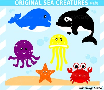 Original Sea Creatures Clip Art for Personal and Commercial Use