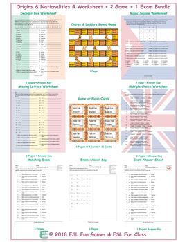 Origins & Nationalities 4 Worksheet-2 Game-1 Exam Bundle