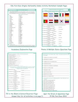 Origins-Nationality Combo Activity Worksheets