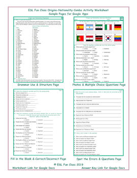 Origins-Nationality Interactive Worksheets for Google Apps | TpT