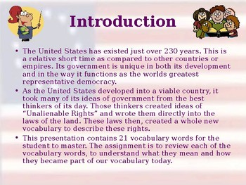 Origins & Purposes of the US Government - Unit Vocabulary Exercise