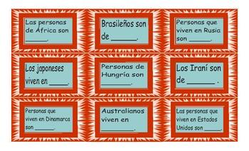 Origins and Nationalities Spanish Card Game