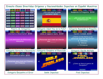 Origins and Nationalities Spanish Jeopardy Game