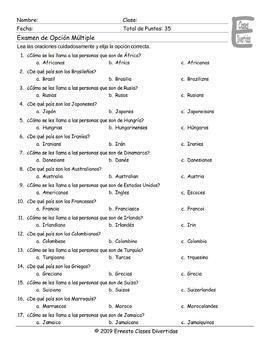 Origins and Nationalities Spanish Multiple Choice Exam