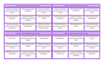 Origins and Nationalities Spanish Tic-Tac-Toe or Bingo Game