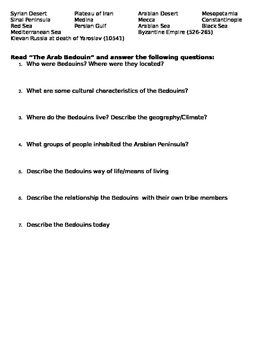 Origins of Islam: Geography, Arab Bedouins Worksheet