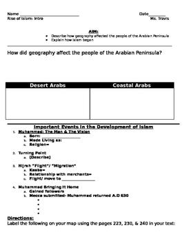 Origins of Islam: Geography, Arab Bedouins Worksheet