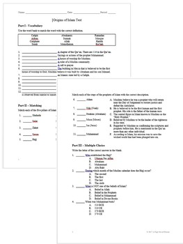 Origins of Islam Test and Answer Key (EDITABLE)