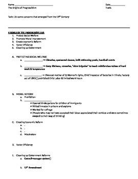 Origins of Progressivism Student Note Page