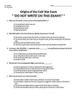 Origins of the Cold War Exam