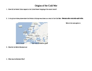 Origins of the Cold War Worksheet