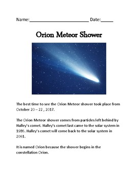 Orion Meteor Shower - general overview lesson with review questions word search