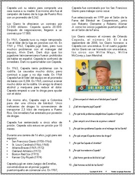 Orlando Cepeda Reading Resource Packet (level 2 and up)